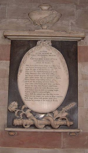 William Withering - William Withering's memorial plaque inside St Bartholomew's Church, Edgbaston
