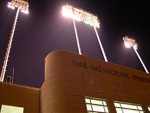 War Memorial Stadium (Arkansas) - War Memorial Stadium during a Catholic High School football game.
