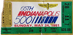 1981 Indianapolis 500 - Ticket stub