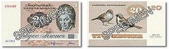 Banknotes of Denmark, 1972 series - 20 kroner bill