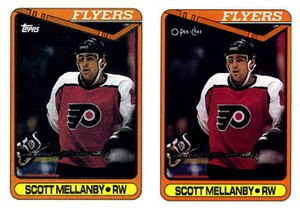 O-Pee-Chee - 1990–91 Topps card, left; 1990–1991 O-Pee-Chee card, right