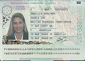British passport (Anguilla) - The biographical data page of a biometric Anguillian passport