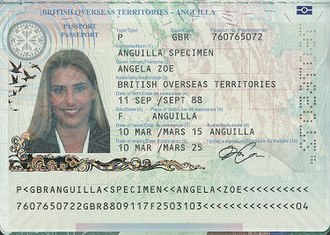 British passport (Anguilla) - The biographical data page of a biometric Anguillian passport