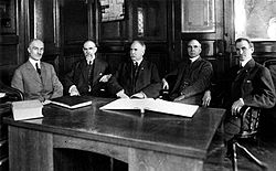 The Ball Brothers from left to right: George A. Ball, Lucious L. Ball, Frank C. Ball, Edmund B. Ball, and William C. Ball