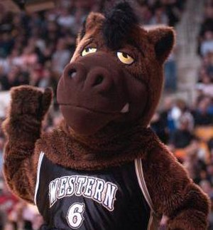 Buster Bronco (Western Michigan) - Buster Bronco at a men's home basketball game.