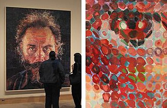 "Chuck Close - Lucas (1986 - 1987), oil and graphite on canvas.  Metropolitan Museum of Art, New York, New York.  Detail at right of eye.  Representative of his ""later, more colorful and painterly style"", ""the elements of the picture are seen as separate abstract markings"" when viewed close-up, while simultaneously maintaining the illusion of a realistic portrait at a distance. The pencil grid and thin undercoat of blue is visible beneath the splotchy ""pixels.""  The painting's subject is fellow artist Lucas Samaras."