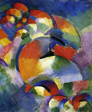 Morgan Russell - Cosmic Synchromy (1913–14). Oil on canvas, 41.28 cm x 33.34 cm. In the collection of the Munson-Williams-Proctor Arts Institute.