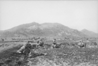 Soldiers wearing flak jackets and helmets are prone on an open field at the base of a large vegetated hill