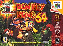 "Five monkeys ride a minecart, pursued in the distance by a stocky reptile with a red cape. Atop, a red and yellow bubble typeface reads ""Donkey Kong 64"". Along the right sidebar, icons indicates that the game is an exclusive for the Nintendo 64 for up to four players and compatible with the Expansion and Rumble Pak accessories. In the top left corner is an Expansion Pak icon in front of an explosion icon: ""Expansion Pak included!"" The Rare logo is in the bottom left corner, and next to it, the text, ""Collector's edition yellow game pak""."