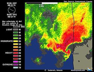 """2011 Goderich, Ontario tornado - Reflectivities on the Exeter, Ontario weather radar at 3:50pm. Note the pronounced """"hook"""" west of Goderich; the signature of an intense mesocyclone"""