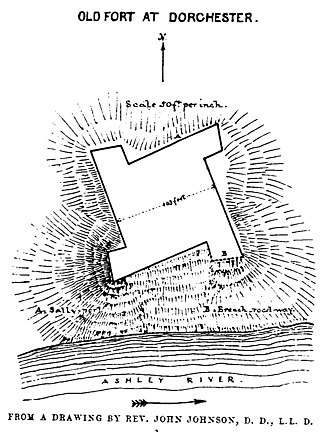 Dorchester, South Carolina - A drawing of an old fort built at Dorchester