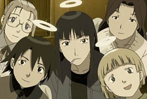 Haibane Renmei - The senior residents of Old Home in the anime. Clockwise from top left: Hikari, Nemu, Kū, Kana, Reki (middle).