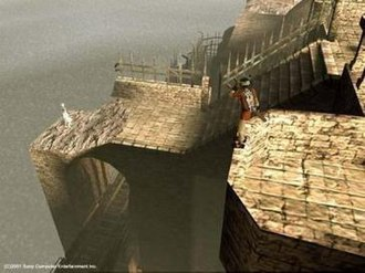 Ico - Ico (right) calls out to Yorda (left) while she waits on the ruined castle. The game's graphics feature soft light techniques.