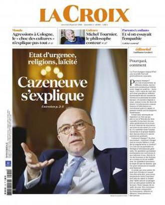 La Croix - Front page of La Croix on 20 January 2016. The first edition to use the new orange logo and theme.