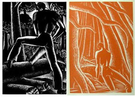 Two monochrome images.  The left, in black, depicts a man from behind sawing wood, and the right, in orange, a man in the woods emergin from the water, directing himself toward a nude female who lies on the ground in the distance.