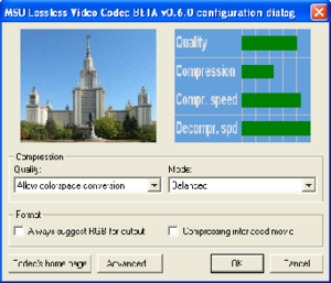 MSU Lossless Video Codec settings panel.png