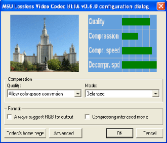 MSU Lossless Video Codec - Image: MSU Lossless Video Codec settings panel