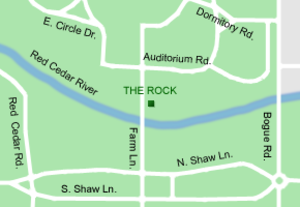 The Rock (Michigan State University) - The Rock's location on campus