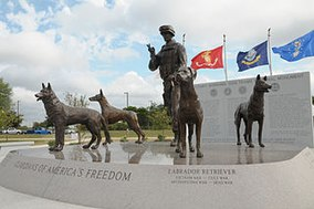 A front view of the Military Working Dog Teams National Monument