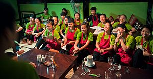 Friends-International - A gathering of vocational training students at FI's training restaurant, Makphet, in Vientiane, Lao PDR.