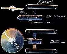 An overhead and side elevation of the starship Enterprise.