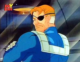 """Nick Fury in other media - Nick Fury from the Iron Man episode 14 """"The Beast Within""""."""