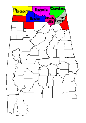 North Alabama - Map of North Alabama counties shaded in, with metropolitan areas labeled. (counties not included in a metropolitan area are shaded in red)