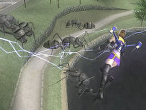 Global Defence Force - The PaleWing soldier flying with her jetpack while attacking giant ants with an electrical weapon.