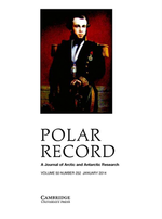 Polar Record journal, 2014, Vol 50, front cover.png