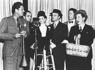 Joe Penner - NBC brought together (l to r) Bob Burns, Tommy Riggs, Charlie McCarthy, Edgar Bergen, Rudy Vallée and Joe Penner.