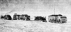 Soviet Antarctic Expedition - The Fourth Soviet Antarctic Expedition used three large tractors and four sledges on the journey from Vostok to the South Pole