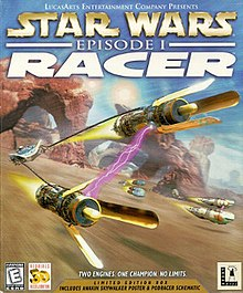 Cover for Star Wars: Episode I: Racer. The title is prominently featured across the top. Below, three podracers compete on a desert planet, with Anakin Skywalker's podracer prominently featured.