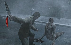 Silent Hill: Homecoming - Alex attacking a monster with a dagger; a health meter is visible