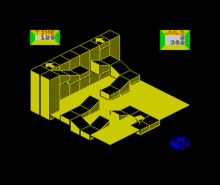 Horizontal rectangle video game screenshot (from the ZX Spectrum version) that is a digital representation of a three dimensional path.