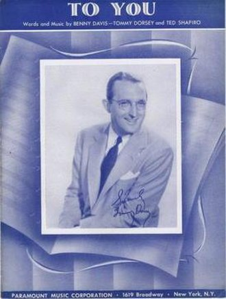 To You (song) - 1939 sheet music cover, Paramount Music, New York.