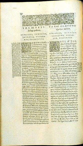 Stephanus pagination - Volume 1, Page 142 of the 1578 Stephanus edition of Plato, showing the opening of Theaetetus