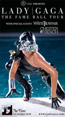 Lady Gaga crouching on all fours in front of a pool. wearing a black full-body leotard and a crystal mask