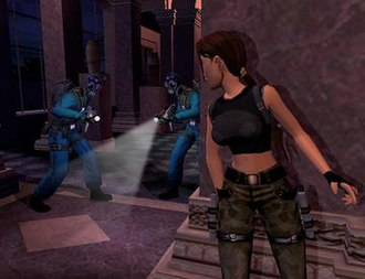 Promotional screenshot for The Angel of Darkness. The game was created to fully use the PS2's power and incorporate stealth mechanics similar to those of the Metal Gear series. Tomb Raider AoD screenshot.jpg
