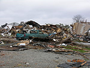 Mid-October 2007 tornado outbreak - EF3 damage in Nappanee, Indiana on October 18, 2007