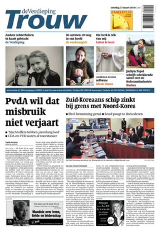 Trouw - Front page of Trouw on 27 March 2010