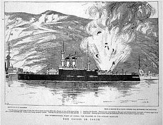 International Squadron (Cretan intervention, 1897–1898) - A drawing from the 27 March 1897 edition of The Graphic of the turret explosion aboard the Russian battleship Sissoi Veliky off Crete on 15 March 1897.