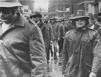 Ulster Defence Association - UDA members marching through Belfast city centre, mid-1972