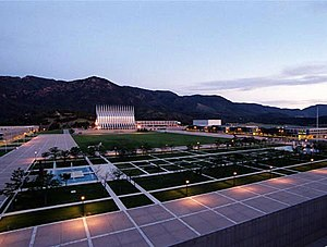 United States Air Force Academy, Cadet Area - The Terrazzo as seen from Fairchild Hall