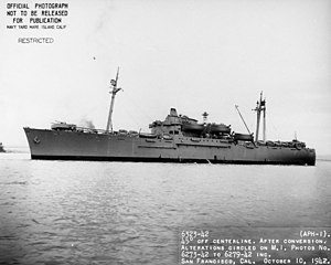 USS Tryon (APH-1) in San Francisco Bay shortly before deployment
