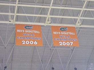 Florida Gators men's basketball - Championship banners in the O'Connell Center