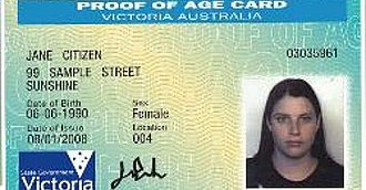 Australian state and territory issued identity photo cards - Image: Victoria Proof of age card