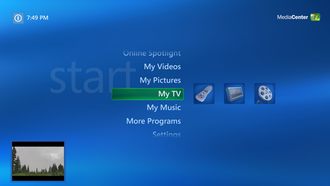 Windows XP Media Center Edition - Image: Windows Media Center on Windows XP