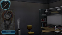A screenshot of an Escape section room, containing a desk on the right, and a tapestry depicting a person holding a candle on the left. The player's currently held item – a syringe – is displayed in the top left corner of the screen.