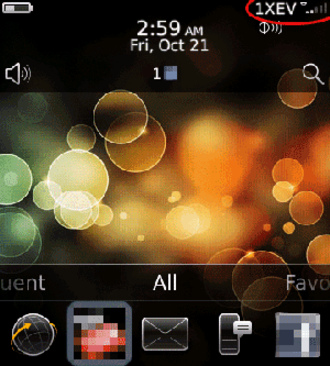 CDMA2000 - BlackBerry smartphone displaying '1XEV' as the service status in the upper right corner.