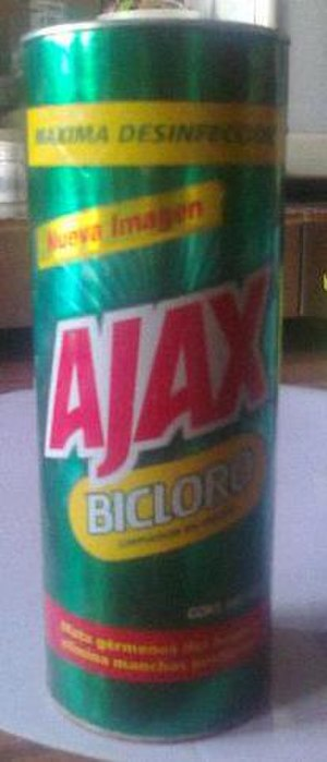 """Ajax (cleaning product) - Ajax bleach container from Mexico; """"Bicloro"""" means """"Double Bleach"""""""